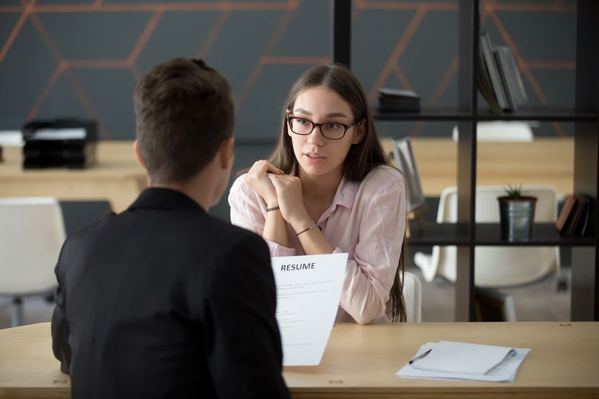Employee interviewing someone